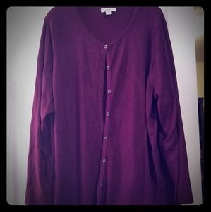 Plum button front cardigan